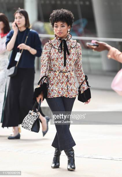 Logan Browning is seen wearing a Tory Burch outfit outside the Tory Burch show during New York Fashion Week S/S20 on September 08 2019 in New York...