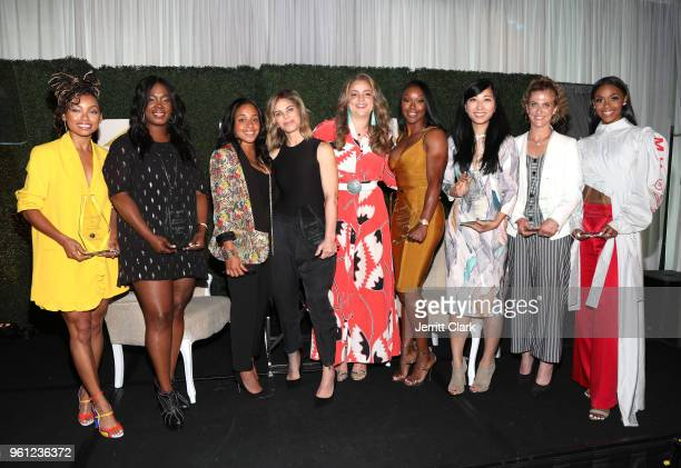 Logan Browning Phylicia Fant Kristen Fraser Erin Harris Carmelita Jeter Suzy Ryoo Jennie Snyder Urman and Nafessa Williams attend the CIROC Empowered...