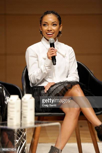 Logan Browning speaks onstage during the Teen Vogue Summit 2018: #TurnUp - Day 1 at The New School on June 1, 2018 in New York City.