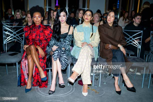 Logan Browning, Tiffany Young, Stephanie Beatriz and Eva Chen attend the Prabal Gurung fashion show during New York Fashion Week: The Shows at the...