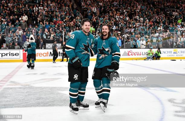 Logan Couture and Erik Karlsson of the San Jose Sharks salutes the crowd after the win against the Vegas Golden Knights in Game Seven of the Western...