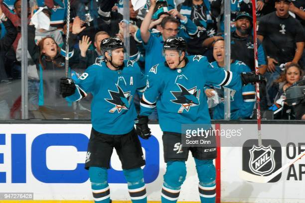 Logan Couture and Tomas Hertl of the San Jose Sharks celebrate Hertl's goal in the second period against the Anaheim Ducks in Game Three of the...