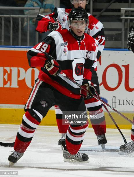 Logan Couture of the Ottawa 67's skates in a game against the London Knights on January 4, 2009 at the John Labatt Centre in London, Ontario. The...