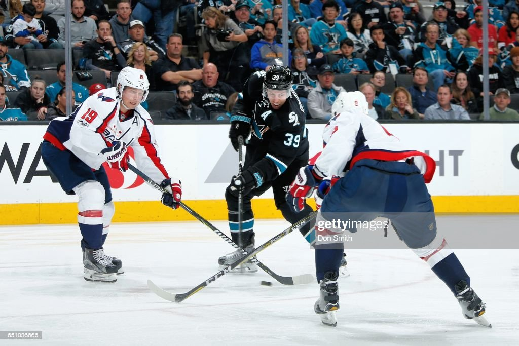 Logan Couture #39 of the San Jose Sharks battles for the puck against Nicklas Backstrom #19 and Dmitry Orlov #9 of the Washington Capitals at SAP Center at San Jose on March 9, 2017 in San Jose, California.