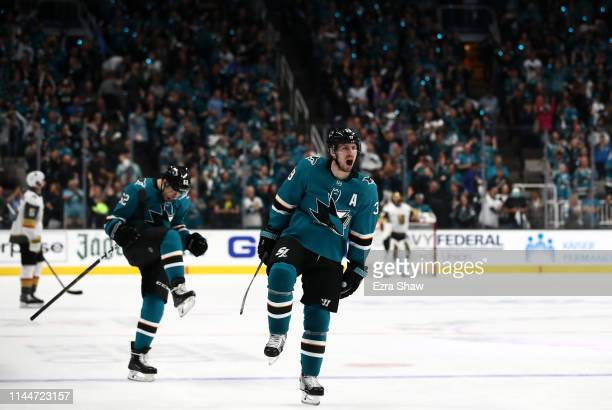 Logan Couture of the San Jose Sharks celebrates after he scored the tying goal in the third period of their game against the Vegas Golden Knights in...