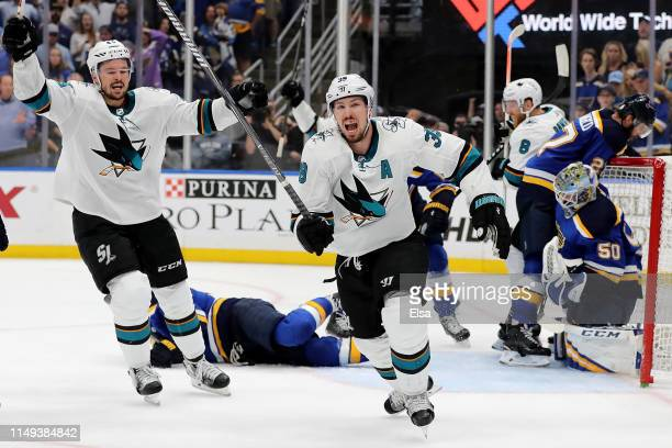 Logan Couture of the San Jose Sharks celebrates after scoring a goal on Jordan Binnington of the St Louis Blues during the third period in Game Three...
