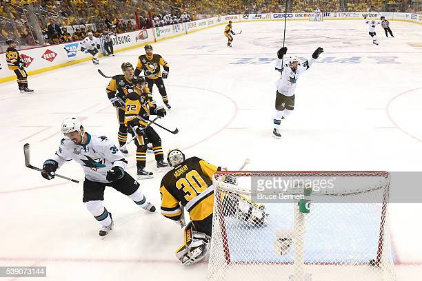 Logan Couture of the San Jose Sharks celebrates after scoring a goal against Matt Murray of the Pittsburgh Penguins during the first period in Game...