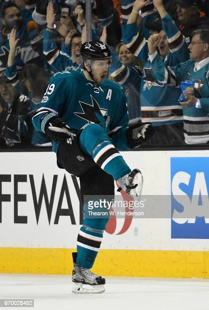 Logan Couture of the San Jose Sharks celebrates after scoring a goal against the Edmonton Oilers during the first period in Game Four of the Western...