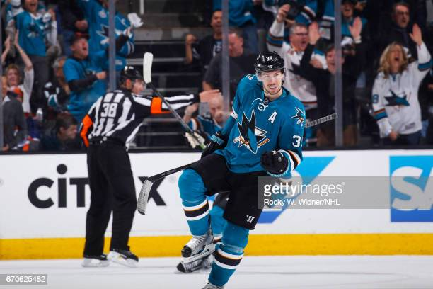 Logan Couture of the San Jose Sharks celebrates after scoring a goal against the Edmonton Oilers in Game Four of the Western Conference First Round...