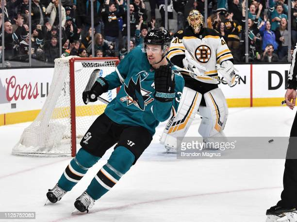 Logan Couture of the San Jose Sharks celebrates after scoring a penalty shot against Tuukka Rask of the Boston Bruins at SAP Center on February 18...