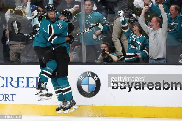 Logan Couture of the San Jose Sharks celebrates his goal against the St Louis Blues with Timo Meier in Game Two of the Western Conference Final...