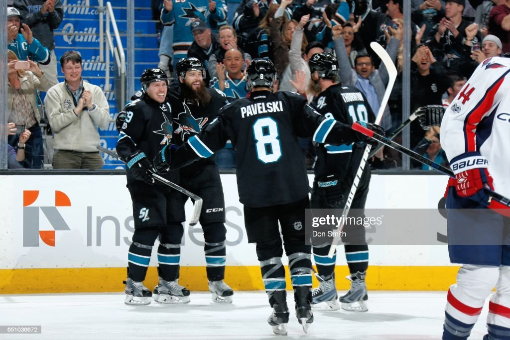 Logan Couture #39 of the San Jose Sharks celebrates his goal in the third period with teammates during a NHL game against the Washington Capitals at SAP Center at San Jose on March 9, 2017 in San Jose, California.