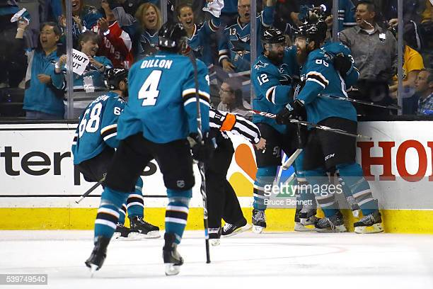 Logan Couture of the San Jose Sharks celebrates his goal with teammates in the second period of Game Six of the 2016 NHL Stanley Cup Final against...