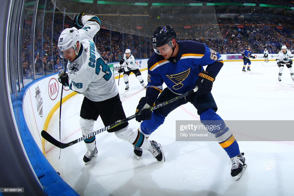 Logan Couture #39 of the San Jose Sharks fights Colton Parayko #55 of the St. Louis Blues for the puck at Scottrade Center on February 20, 2018 in St. Louis, Missouri.