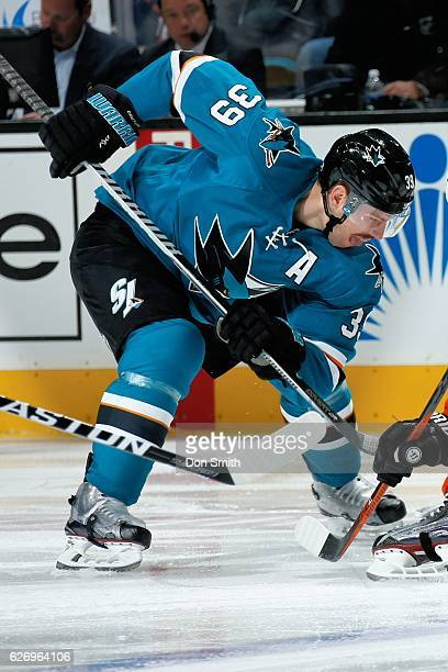 Logan Couture of the San Jose Sharks gets ready to face off during a NHL game against the Anaheim Ducks at SAP Center at San Jose on November 26,...
