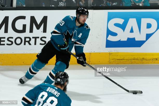 Logan Couture of the San Jose Sharks handles the puck in Game Six of the Western Conference Second Round against the Vegas Golden Knights during the...