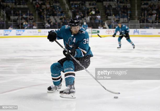 Logan Couture of the San Jose Sharks in action against the Carolina Hurricanes at SAP Center on December 7 2017 in San Jose California