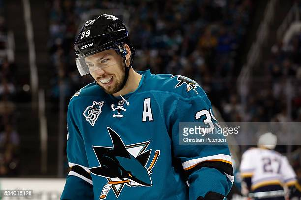 Logan Couture of the San Jose Sharks in game four of the Western Conference Finals against the St Louis Blues during the 2016 NHL Stanley Cup...
