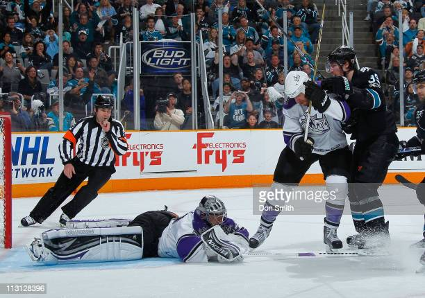 Logan Couture of the San Jose Sharks looks for a rebound against Jonathan Quick of the Los Angeles Kings in Game 5 of the Western Conference...