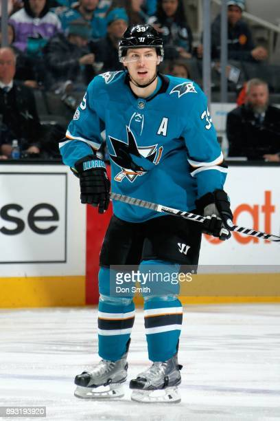 Logan Couture of the San Jose Sharks looks on during a NHL game against the Minnesota Wild at SAP Center on December 10 2017 in San Jose California