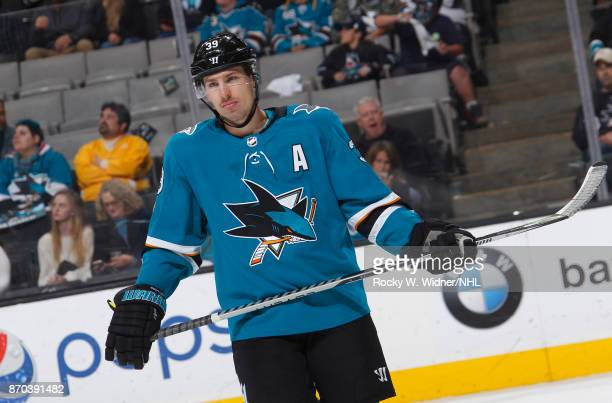 Logan Couture of the San Jose Sharks looks on during the game against the Nashville Predators at SAP Center on November 1 2017 in San Jose California