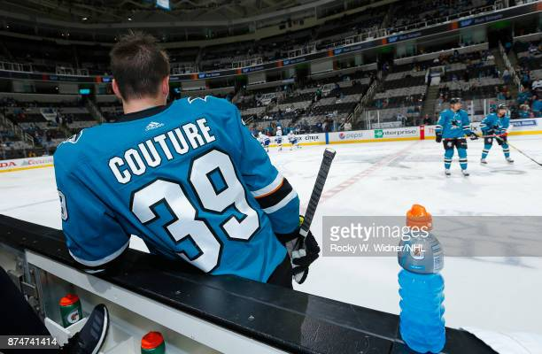 Logan Couture of the San Jose Sharks looks on prior to the game against the Tampa Bay Lightning at SAP Center on November 8 2017 in San Jose...