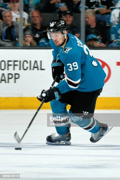Logan Couture of the San Jose Sharks moves the puck in Game Six of the Western Conference Second Round against the Vegas Golden Knights during the...