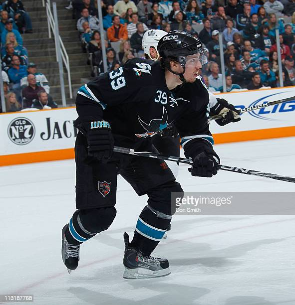 Logan Couture of the San Jose Sharks pursues the puck against the Los Angeles Kings in Game 5 of the Western Conference Quarterfinals during the NHL...