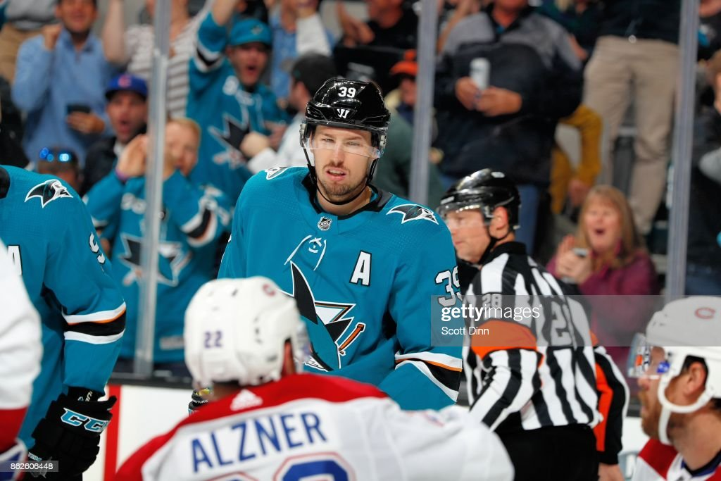 Logan Couture #39 of the San Jose Sharks reacts after scoring a goal in the second period against the Montreal Canadiens at SAP Center on October 17, 2017 in San Jose, California.
