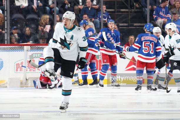 Logan Couture of the San Jose Sharks reacts after scoring a goal in the first period against the New York Rangers at Madison Square Garden on October...