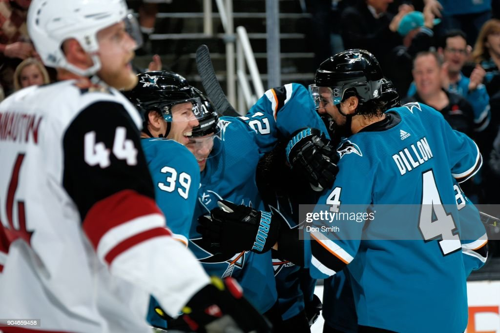 Logan Couture #39 of the San Jose Sharks reacts after scoring a goal in the first period against the Arizona Coyotes at SAP Center on January 13, 2018 in San Jose, California.