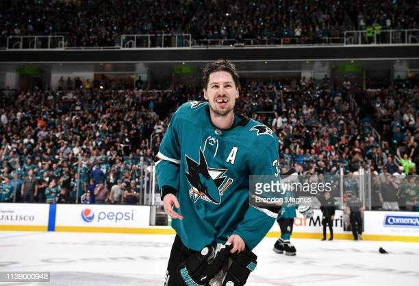 Logan Couture of the San Jose Sharks salutes the crowd after the win against the Vegas Golden Knights in Game Seven of the Western Conference First...