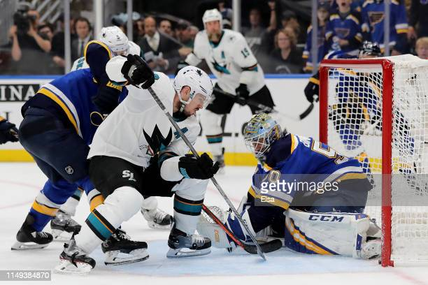 Logan Couture of the San Jose Sharks scores a goal on Jordan Binnington of the St Louis Blues during the third period in Game Three of the Western...