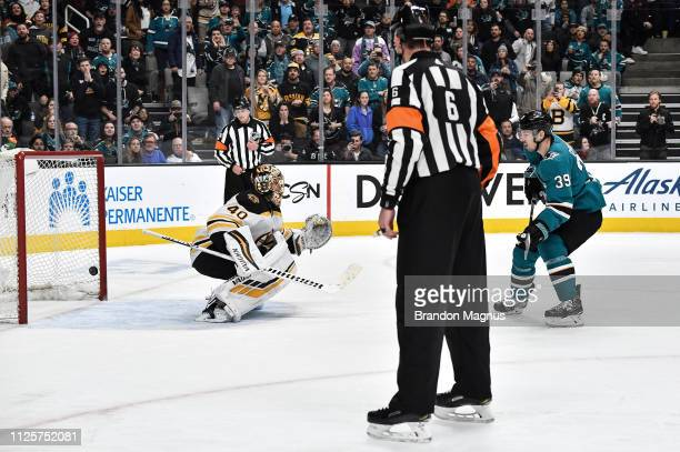 Logan Couture of the San Jose Sharks scores a penalty shot against Tuukka Rask of the Boston Bruins at SAP Center on February 18 2019 in San Jose...