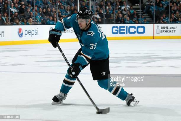 Logan Couture of the San Jose Sharks shoots the puck during a NHL game against the Minnesota Wild at SAP Center on April 7 2018 in San Jose...