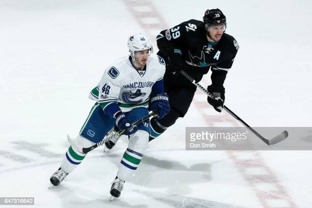 Logan Couture of the San Jose Sharks skates against Jayson Megna of the Vancouver Canucks at SAP Center at San Jose on March 2 2017 in San Jose...