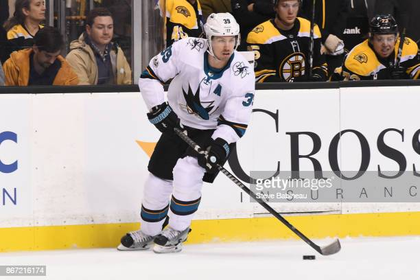 Logan Couture of the San Jose Sharks skates against the Boston Bruins at the TD Garden on October 26 2017 in Boston Massachusetts