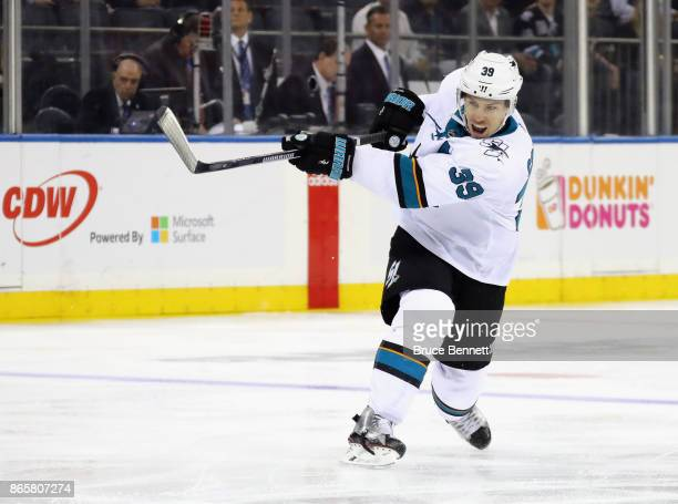 Logan Couture of the San Jose Sharks skates against the New York Rangers at Madison Square Garden on October 23 2017 in New York City The Sharks...