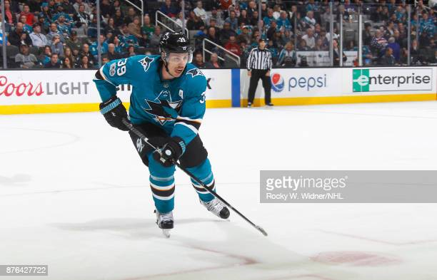Logan Couture of the San Jose Sharks skates against the Vancouver Canucks at SAP Center on November 11 2017 in San Jose California