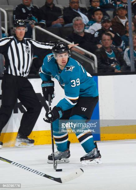 Logan Couture of the San Jose Sharks skates with the puck against the Dallas Stars at SAP Center on April 3 2018 in San Jose California Logan Couture