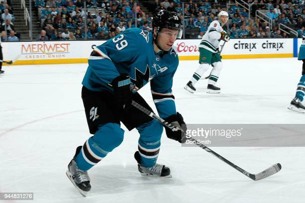 Logan Couture of the San Jose Sharks watches the puck during a NHL game against the Minnesota Wild at SAP Center on April 7 2018 in San Jose...