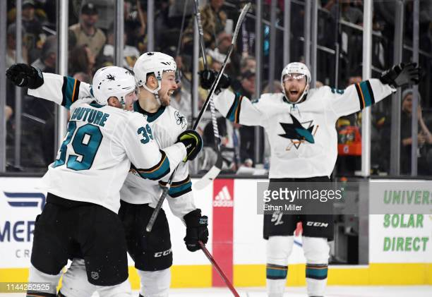 Logan Couture Tomas Hertl and Barclay Goodrow of the San Jose Sharks celebrate after Hertl scored a gamewinning shorthanded goal against the Vegas...
