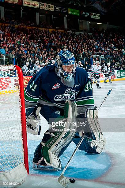 Logan Flodell of the Seattle Thunderbirds clears the puck from the crease against the Kelowna Rockets on February 8 2016 at Prospera Place in Kelowna...