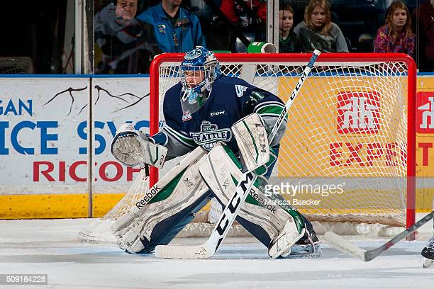 Logan Flodell of the Seattle Thunderbirds defends the net against the Kelowna Rockets on February 8 2016 at Prospera Place in Kelowna British...