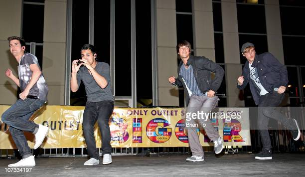 Logan Henderson Carlos Pena James Maslow and Kendall Schmidt from boy band Big Time Rush perform a holiday concert at Citadel Outlets on December 4...