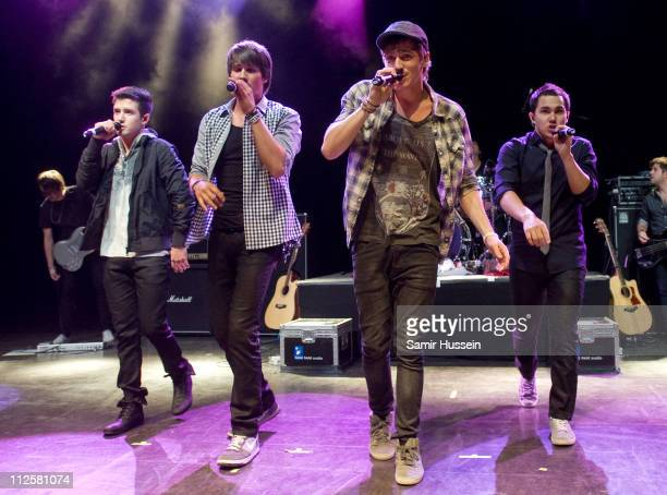 Logan Henderson James Maslow Kendall Schmidt and Carlos Pena of Big Time Rush perform at the Shepherds Bush Empire on April 19 2011 in London England