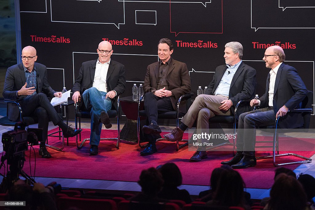 Logan Hill, Alex Gibney, Lawrence Wright, Mike Rinder, and Paul Haggis attend TimesTalks Presents An Evening With 'Going Clear: Scientology and the Prison of Belief' at The Times Center on March 2, 2015 in New York City.