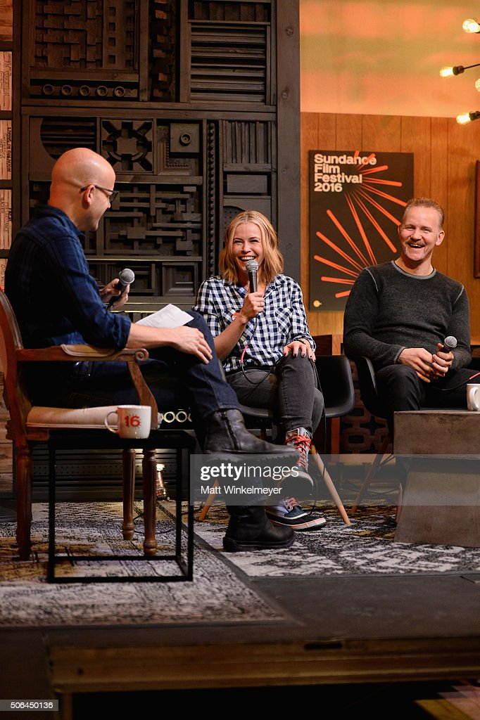 Logan Hill, comedian Chelsea Handler, and documentary filmmaker Morgan Spurlock speak at the Cinema Cafe during 2016 Sundance Film Festival at Filmmaker Lodge on January 23, 2016 in Park City, Utah.