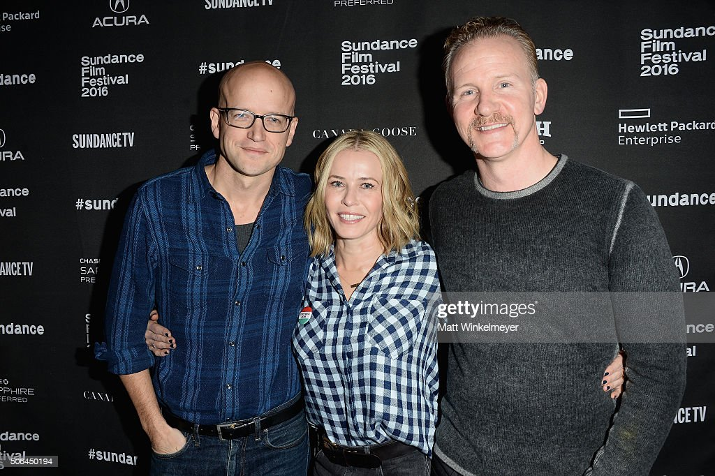 Logan Hill, comedian Chelsea Handler, and documentary filmmaker Morgan Spurlock attend the Cinema Cafe during 2016 Sundance Film Festival at Filmmaker Lodge on January 23, 2016 in Park City, Utah.