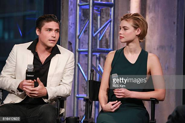 Logan Huffman and Lucy Fry attend AOL Build Speaker Series to discuss The Preppie Connection at AOL Studios In New York on March 18 2016 in New York...